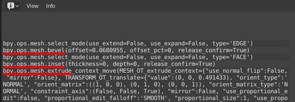 InfoタブにそのPythonコマンドが表示